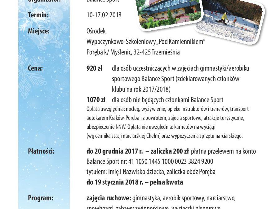 Zima 2018: obóz rekreacyjno – sportowy